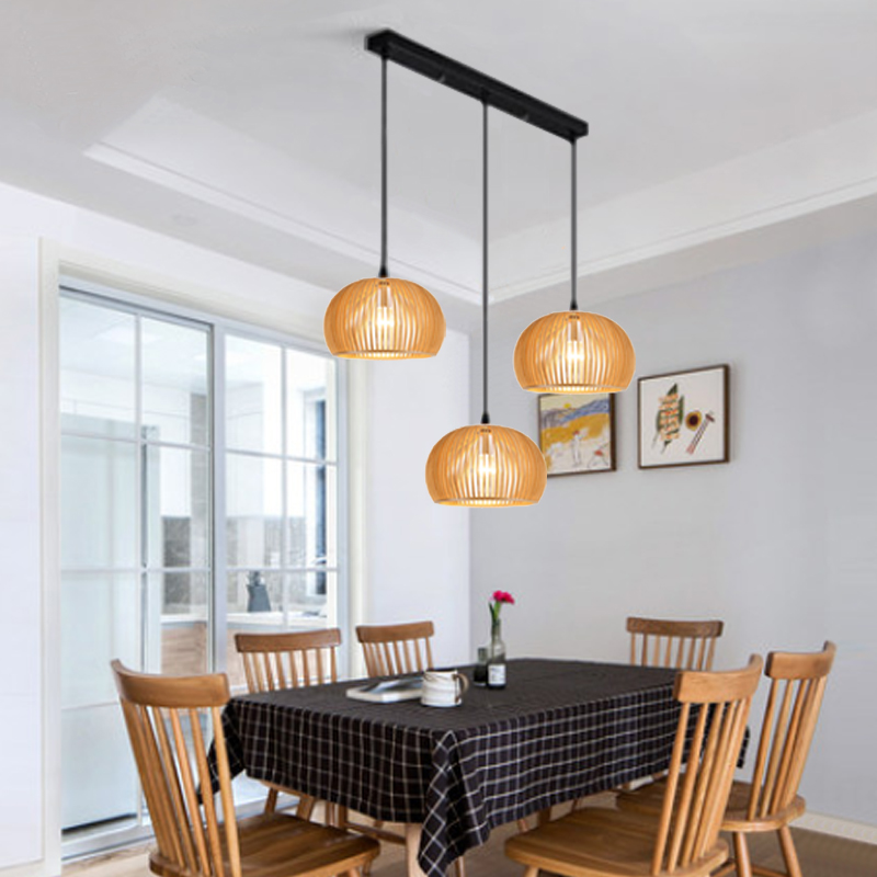 Modern Restaurant Pendant Lamp Hand Knitted Wooden Cage Pendant Lamp Nordic Combined Bar Real Wood Hanging Lights