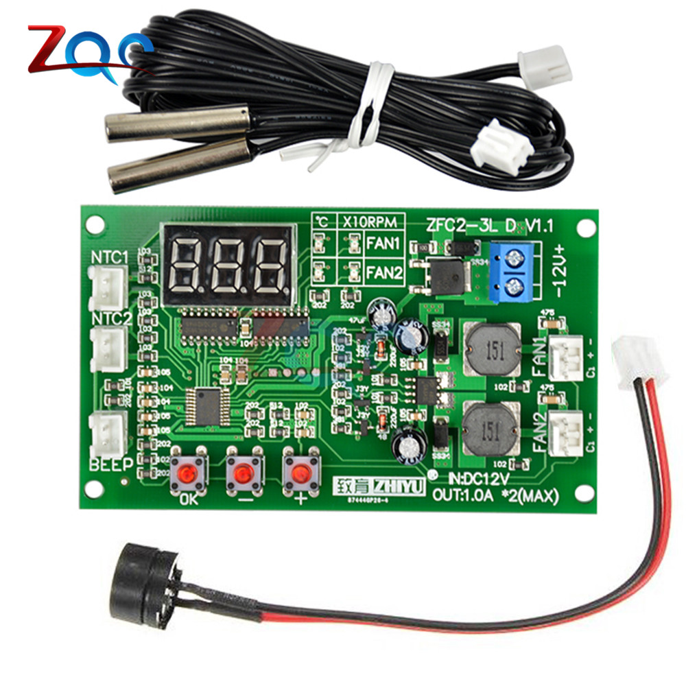 DC 12V Dual 3-wire Fan LED Intelligent Digital Temperature Thermostat Governor Motor Speed Controller Switch Module NTC Sensor