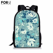 FORUDESIGNS Customize Picture Backpack for Teenager Girls Boy 16 inch Flower Print School Bag Childrens BookBag Student Mochila
