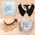 2016 Moda Collares Colgantes Enlace Cadena Collar Largo Plateado Esmalte Declaración Bling y Moda Joyería de Las Mujeres Collar collar de la falsificación