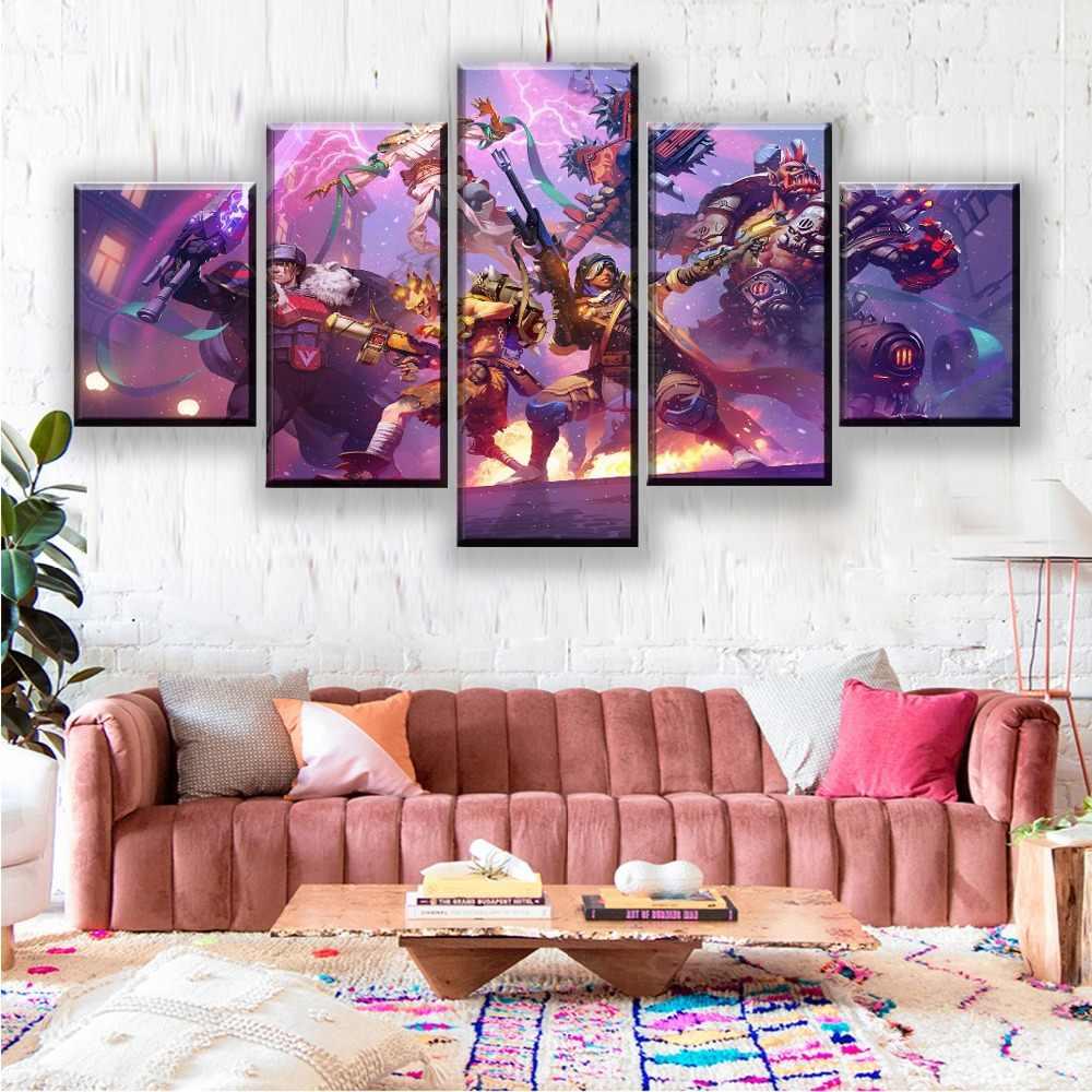 Canvas Nghệ Thuật In Hình Áp Phích Nhà Trang Trí Treo Tường Mô Đun Hình 5 Tấm Trò Chơi Anh Hùng của Bão Tranh Hiện Đại Tác Phẩm Nghệ Thuật
