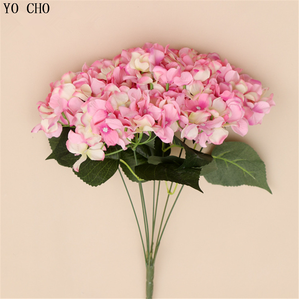 Large hydrangea silk flower bouquet artificial flowers for Artificial flowers decoration for home