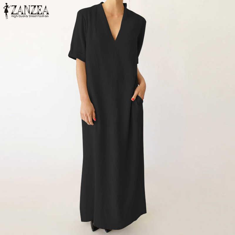 ZANZEA 2018 Summer Women Short Sleeve Sexy Deep V Neck Long Maxi Dress  Casual Loose Vestido 6d2018711