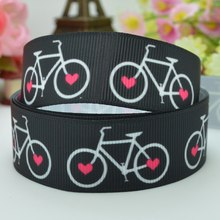 "DUWES 7/8"" 22mm Sports Bicycle pink heart Printed grosgrain ribbon hai rbow DIY handmade OEM 50YD(China)"