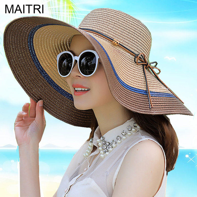 11ac8ff7fef9a MAITRI 2018 New Fashion 14cm Wide Brim Women Straw Hat Panama Bohemian  Beach Hats Summer Sun Sombrero Cap