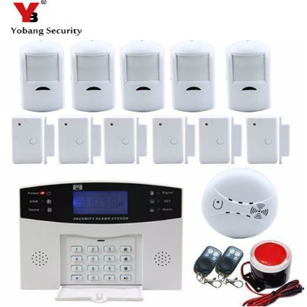 YobangSecurity Wireless Wired GSM SMS Home Security Burglar Alarm Intercom System Russian French Spanish Voice Smoke Fire Sensor