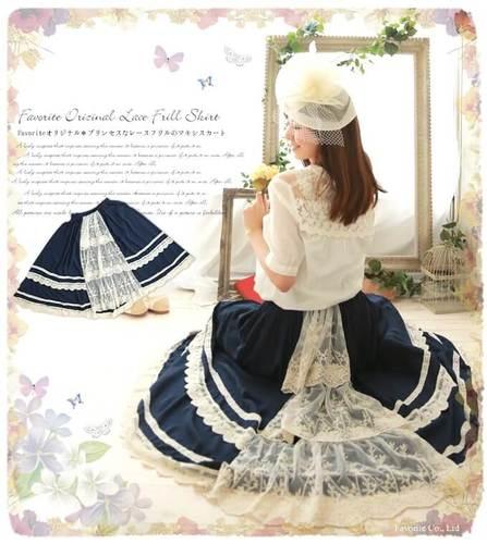 Vêtements Mori Lolita Japonais Blue Élastique Preppy Fille Dentelle Patchwork Style Plissée pink Doux Navy Femmes Princesse Saia Taille Jupe PpqwB4Cxq
