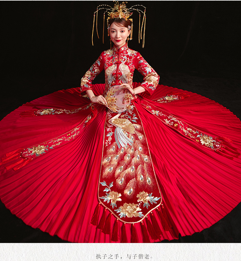 Bride 39 s Wedding toast dress Traditional Cheongsam Red Peacock Pleated Xiuhe Dress Oriental Wedding Clothing For Oversea Chinese in Cheongsams from Novelty amp Special Use