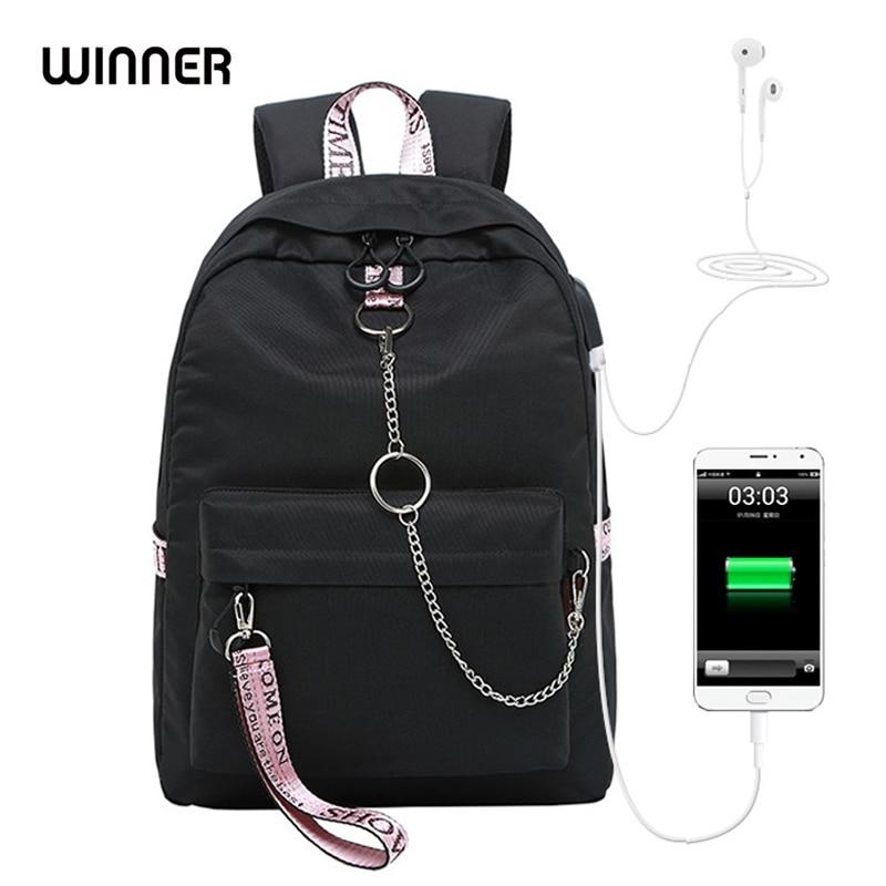 Gagnant garçon et fille école solide couleur USB bookbag sac à dos pour adolescents grande capacité mode voyage sac étanche pour ordinateur portable
