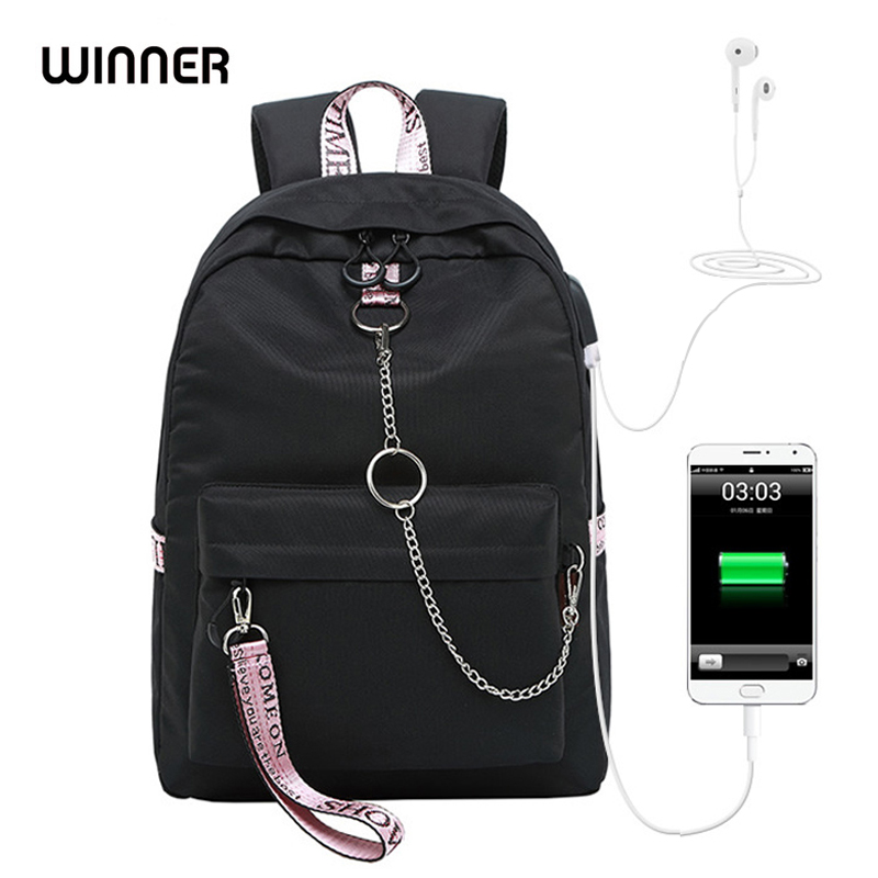 WINNER Boy And Girl School Solid Color USB Bookbag Backpack   For Teenagers  Big Capacity Fashion  Travel Waterproof Laptop Bag