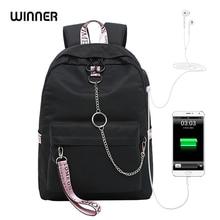 WINNER Boy and girl school solid color USB bookbag backpack   for teenagers  big capacity fashion  travel waterproof laptop bag