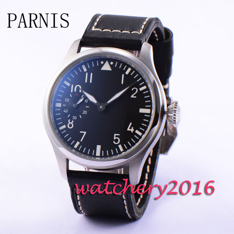Newest Fashion casual 47mm Parnis black dial Stainless Steel 17 jewels 6497 Movement Hand Winding Mechancial Wrist Mens WatchNewest Fashion casual 47mm Parnis black dial Stainless Steel 17 jewels 6497 Movement Hand Winding Mechancial Wrist Mens Watch