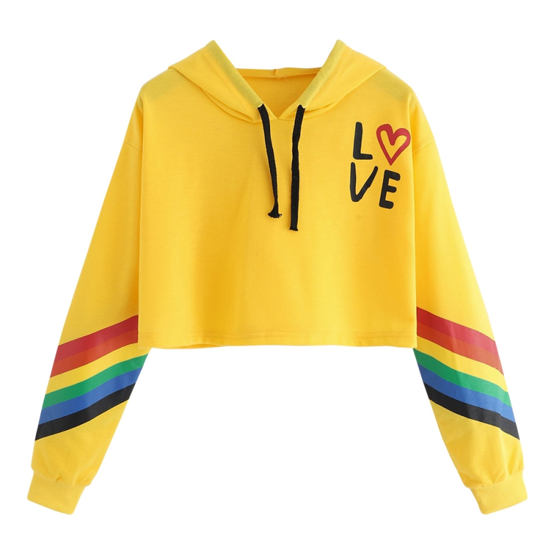 Autumn Sudadera Mujer Rainbow Striped Letter Print Women Hoodie Sweatshirt Female Long Sleeve Pullover Sweatshirt Ladies Tops