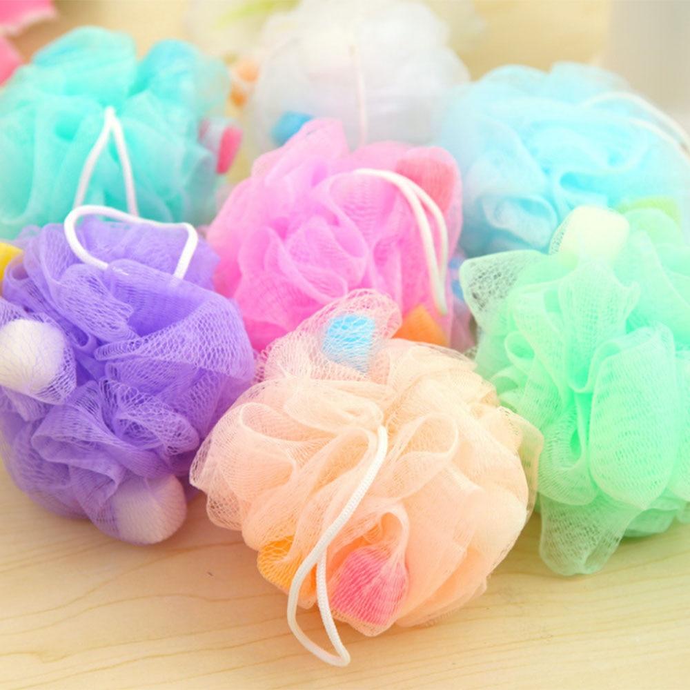 2PCS Nylon Bath Ball Bathroom Bath Tubs Flower Ball Bath Scrubber Summer Body Cleaning Mesh Shower Wash Sponge Colorful Random