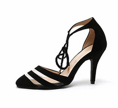 ФОТО High thin heels pointed toe bandage cutout small 31 32 33 plus size 40 41 42 43 female sandals free shipping