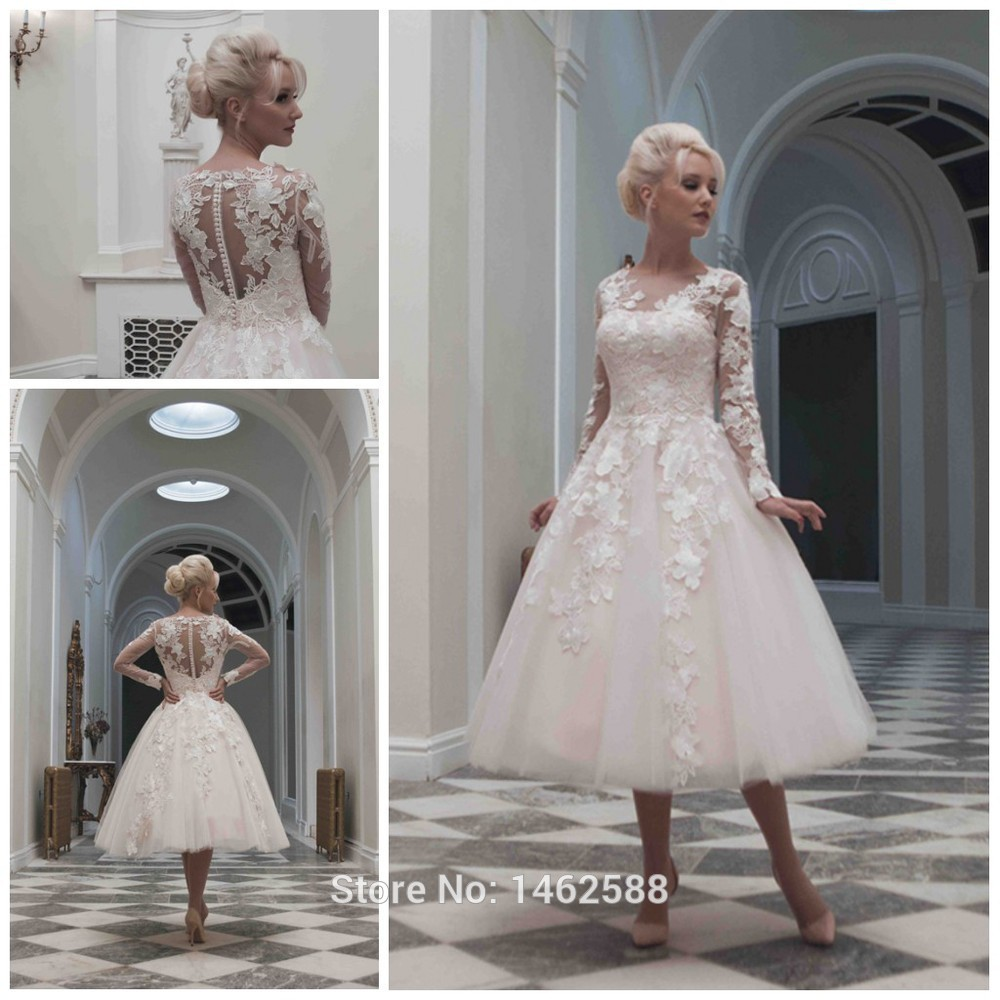 Vintage 1920s Style Long Sleeves Ball Gowns Wedding Dress Tea