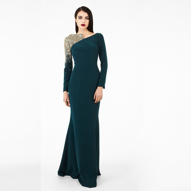 Free Shipping Vestidos Winter Formal Gown Long Sleeve Beads Bling