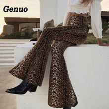 Genuo Leopard Print Sexy Wide Leg Pants Women High Waist Loose Long Ladies Trousers Casual Flare Fashion