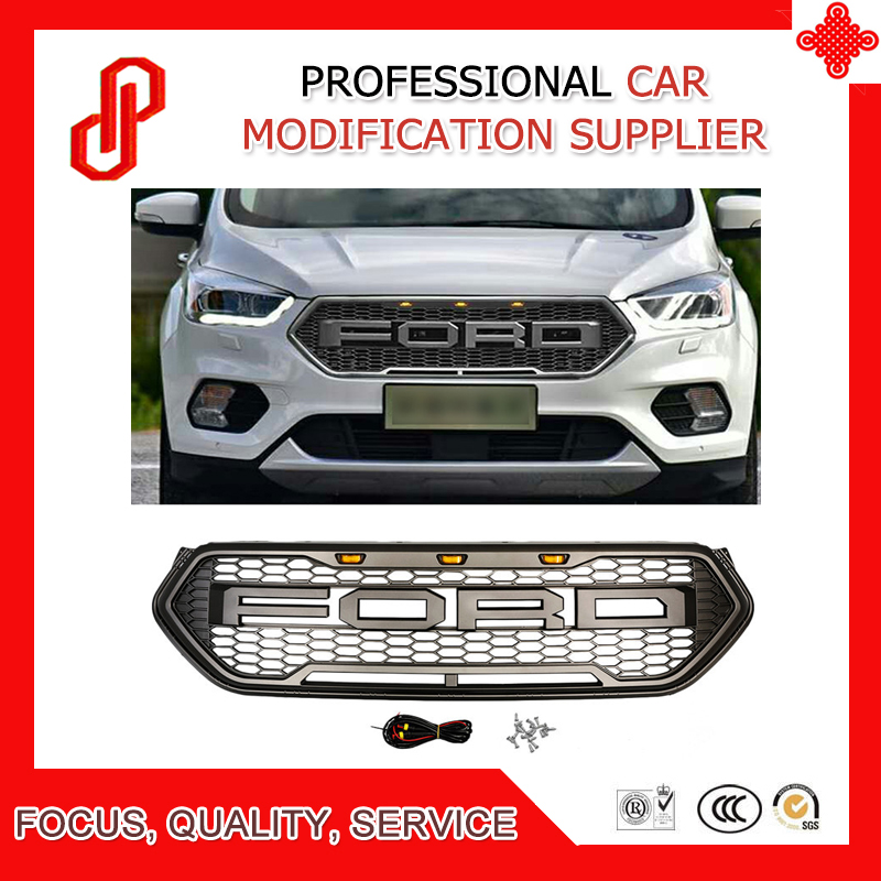 High quality Modified ABS car front racing grills grill Raptor Grille cover for Kuga Escape Front grille 2017 2018-in Racing Grills from Automobiles & Motorcycles