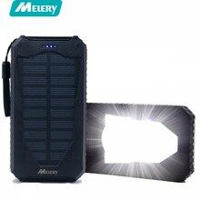 Melery Ao Ar Livre Banco De Energia Solar 15000 mAh Dual USB Bateria Externa Portátil com Led Tocha À Prova de Choque para o Smartphone