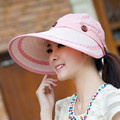 Grande strawhat femenino sunbonnet el verano de doble sombrero anti ultravioleta grande playa del sol visera