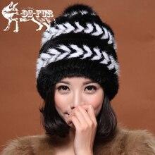 Зима Норки меховая шапка для женщин подлинная натурального меха Шапки открытый Русский шапочки шляпа моды хорошее качество толстые теплые меха шляпы