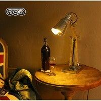 DSQ Przemysł LED Składane Ramię Lampa Stołowa Amerykańska Osobowość Twórcza Retro Z Litego Drewna Nauka Oko Lampa Biurko Badania
