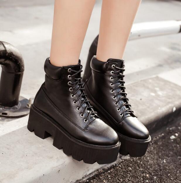 e7bfffe2e Женские Сапоги и ботинки для девочек зимняя обувь модные ботинки на высокой  платформе дамские ботильоны Обувь в стиле панк мотоботы обувь на платформе  D1307