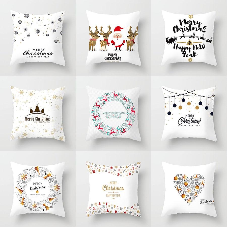 YWZN Pillowcases Christmas-Decorative Polyester Santa-Claus Cover Throw Elk Poszewka