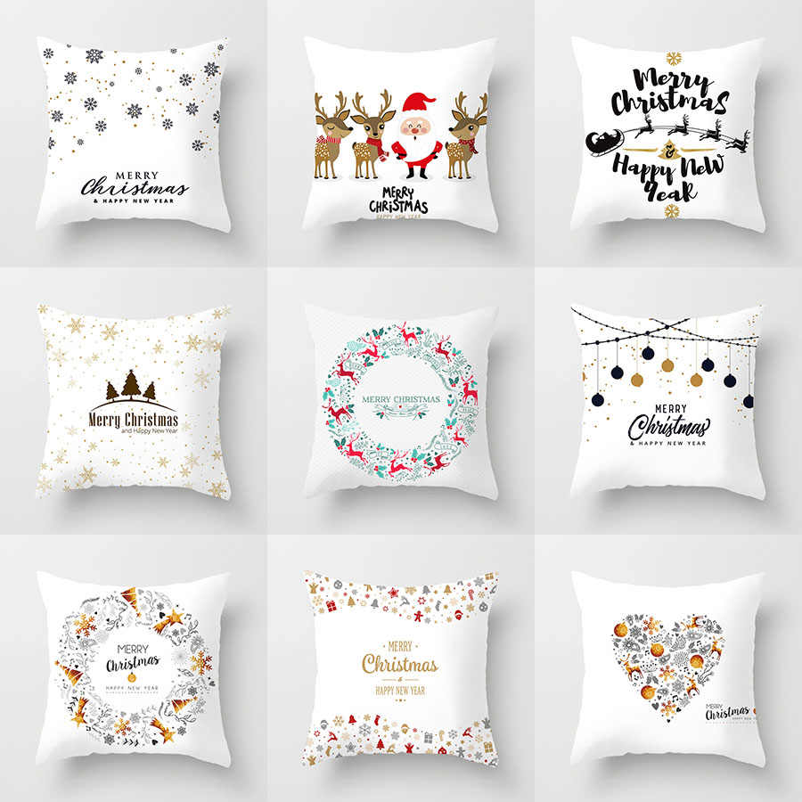YWZN Christmas Decorative Pillowcases Polyester Merry Christmas Santa Claus Throw Pillow Case Cover Elk Pillowcase poszewka