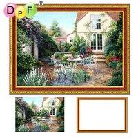 DPF 5D Diamond Embroidery Garden Diamond Painting Cross Stitch With Frame Full Round Diamond Mosaic Kits