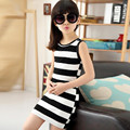 4-14 Years 2017 Girls Dress Summer Spring Striped Mini T shirt Girl Baby Kids Dresses For Girls Child Sleeveless Clothes JW1113