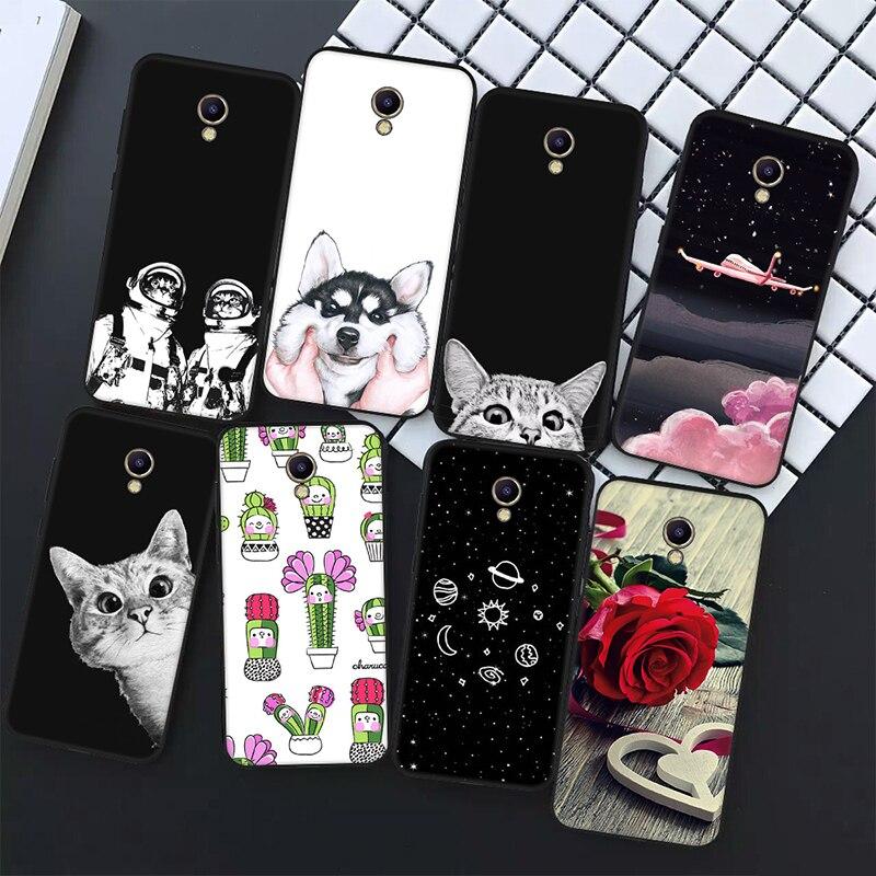 Cat Plants Animals Pattern Soft Silicone Case For Meizu M5S M5C M6 Silicon TPU Bumper Back Cover Case For Meizu M5 Note M6 Note