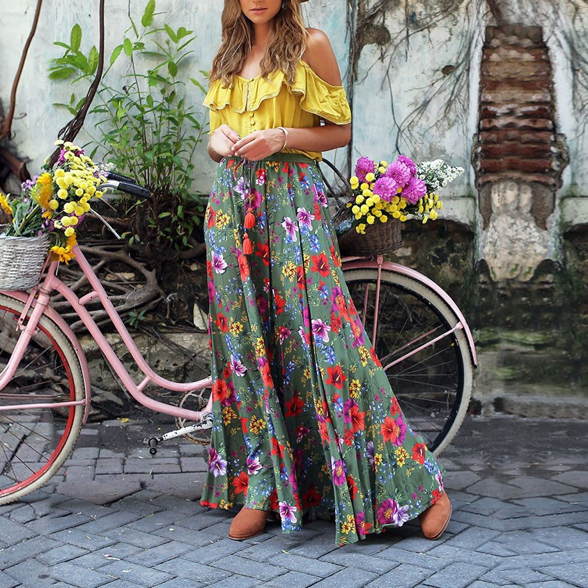 Fashion Two Pieces Set 2019 Summer Women Boho Printed Tops Ruffled Swing Pleated Skirt Tassel Button Holiday Beach