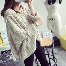 2016 New woman Winter Coat Sweater Thickening Set Head Winter Clothing Korean Winter Dress Tide Student Batwing Sleeve Pullovers