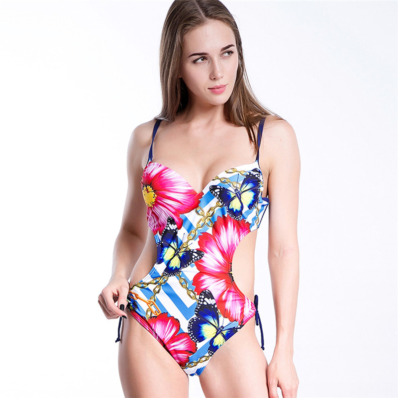 цена на NEW prints One Piece Swimsuit 2018 Sexy Swimwear Women Bathing Suit Swim Summer Beach push up Bandage Monokini Swimsuit
