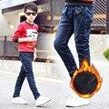 Crianças inverno Adicionar Lã Vôo Delta de Jeans Meninos Calças das Crianças dos miúdos de Alta Qualidade Calças Jeans Padrão 6-18years
