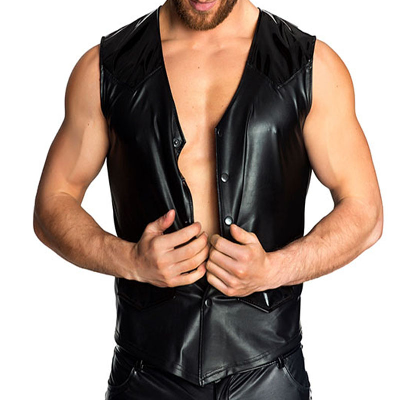 Plus Size XXL Black V Neck Sexy Punk Patent Faux Leather Sexy Tank Tops Men Pole Dance Costume Gay Addicted Vinyl Vest Clothing