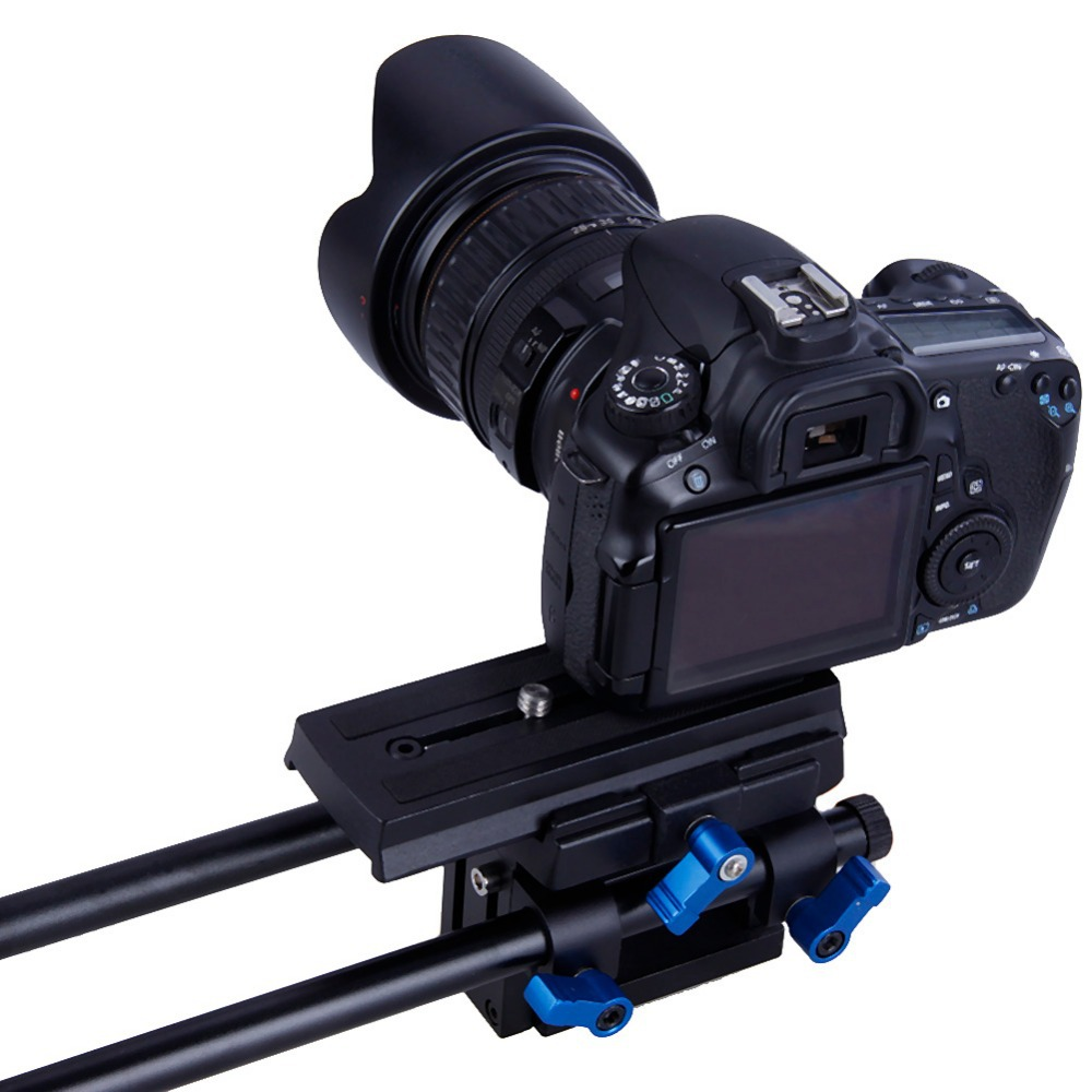 Koolertron Adjustable Plateform Baseplate Plate Support Mount Rig Rail System With 2 Rods For DSLR Camera Follow Focus Matte Box koolertron professional 15mm rail dia dslr shoulder pad support mount rig hand grip for cannon sony dv hdv hd camcorder