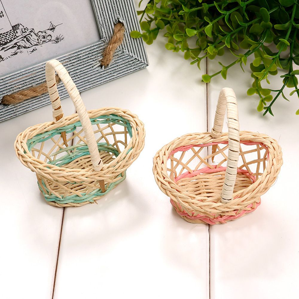 2pcs Cute Mini Plastic Weaving Storage Basket Fruit Rattan Basket Toy Organizer Handle Figurines Miniatures Home Decoration