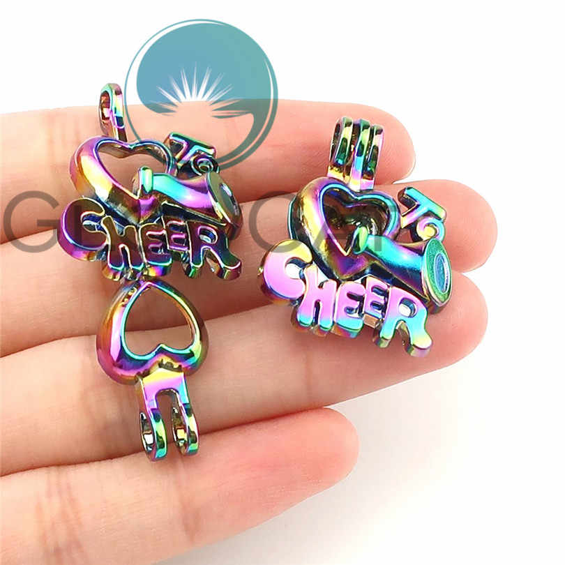 Rainbow Moon Goddess Icecream Doghouse Flower CHEER Beads Cage Perfume Diffuser Oyster Pearl Cage Locket Pendant
