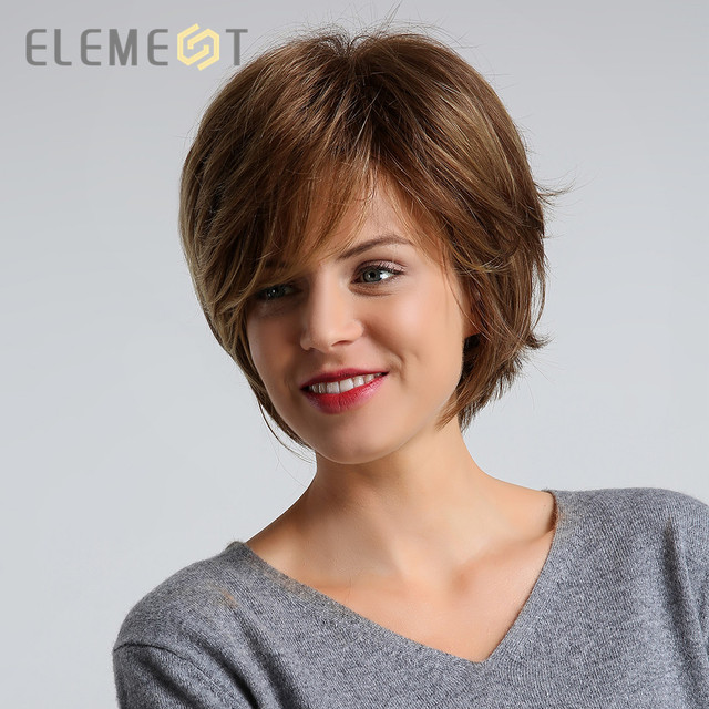 ELEMENT Synthetic 6 inch Pixie Cut Hair Wig for Women Dark Brown Color Left Side Parting Natural Headline High Density Wigs