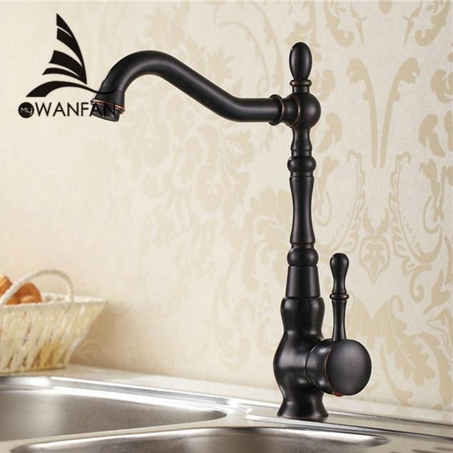 Kitchen Faucet Euro Retro Oil Rubbed Black Bronze Swivel Singe Handle Bathroom Basin Kitchen Deck Mounted