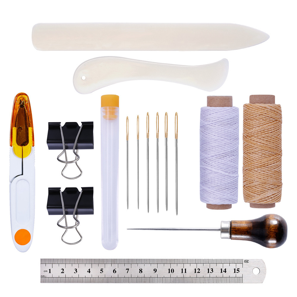 Leather Craft Bookbinding Kit Starter Tools Set Bone Folder Paper Creaser, Waxed Thread, Awl, Large-eye Needles DIY image