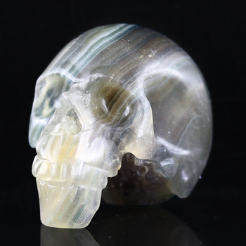 "2.75""FLUORITE CRYSTAL STONE Handmade Carved Crystal Skull Crystal Realistic Crystal Healing Furnishing Articles Figurine AB38"