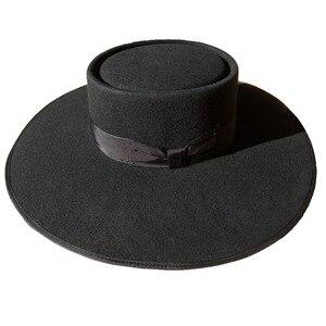 Image 2 - 黒ウール豚肉パイフェルト Fedora/Porkpie Exra 大型ワイドつばフロッピー帽子 12 センチメートル