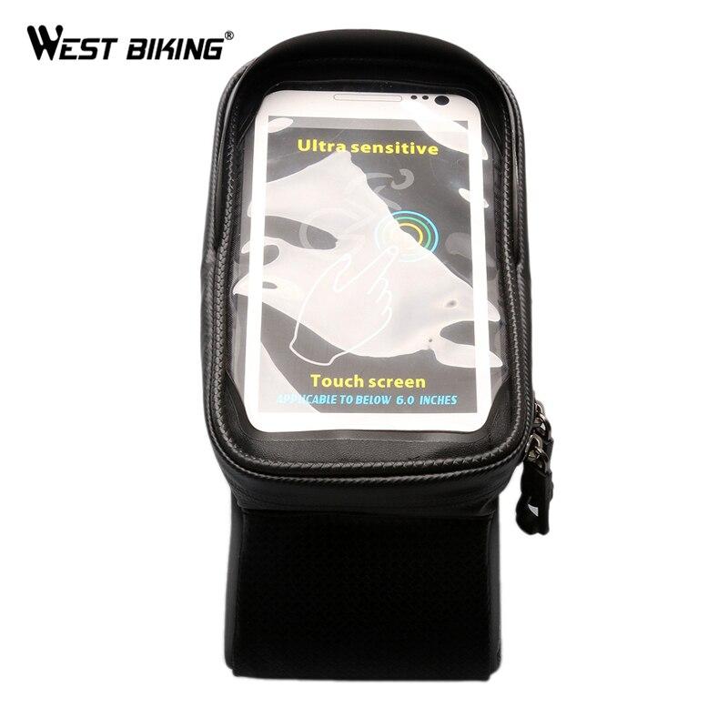 Запад biking 6 дюймов смартфон Водонепроницаемый ТПУ чувствительной Сенсорный экран Велоспорт Передняя труба сумка Велоспорт велосипед Вышив...