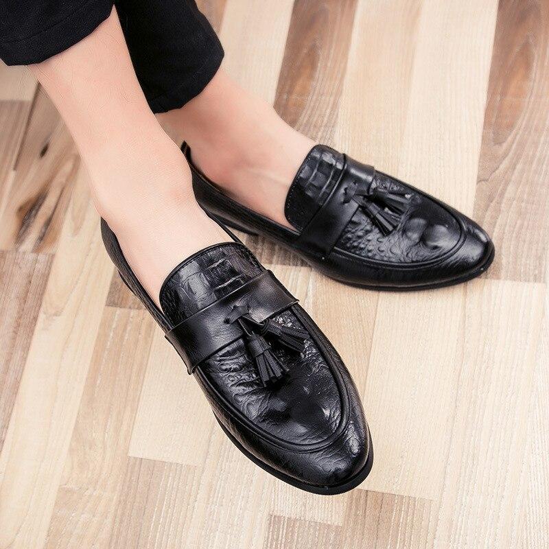 Drop Shipping Fashion Mens Tassel Office Footwear Leather Italian Formal Snake Skin Dress Shoes 2019 New Fashion Shoes