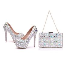 Crystal Queen 14CM High Heels Platform Women Wedding Shoes With Matching Bags Bride Payty Dress Shoes Purse Pumps