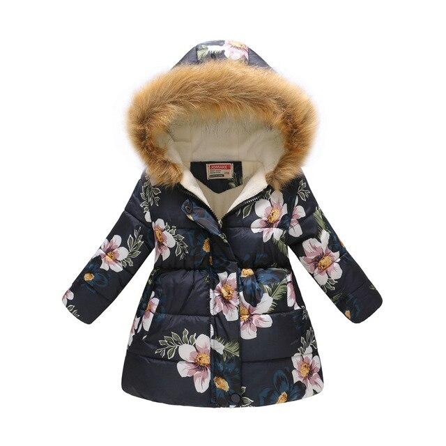 Best Price 2018 Girls Coat winter jackets for girls kids fashion floral printed girls parka coats thick fleece warm children girls jackets